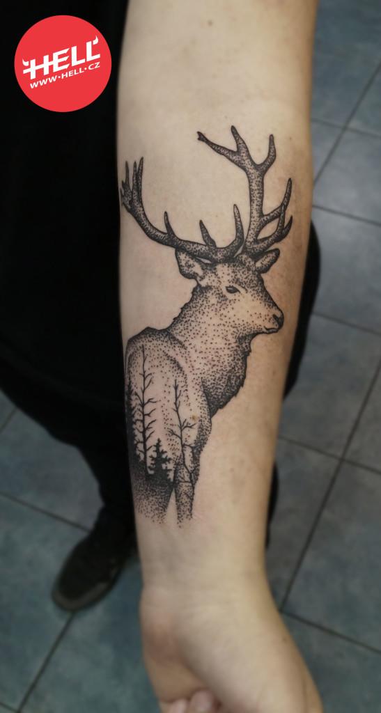 Hell.cz Hell dotwork tattoo deer jelen tetování Kubo
